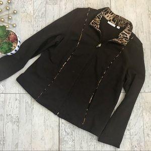 Susan Graver animal print brown zip jacket large